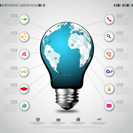 Modern infographic template. Creative light bulb with application icon. Business software and social media concept Vector