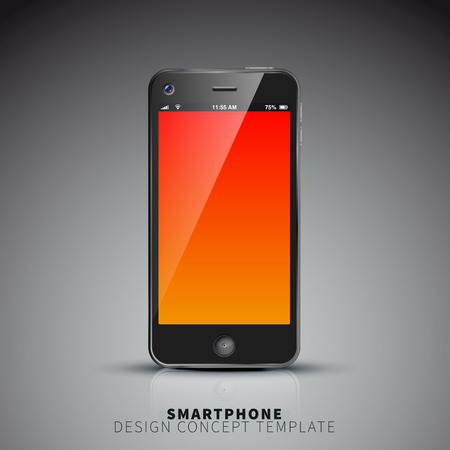 Smartphones design concept template in white color with place for your screenshot Vector