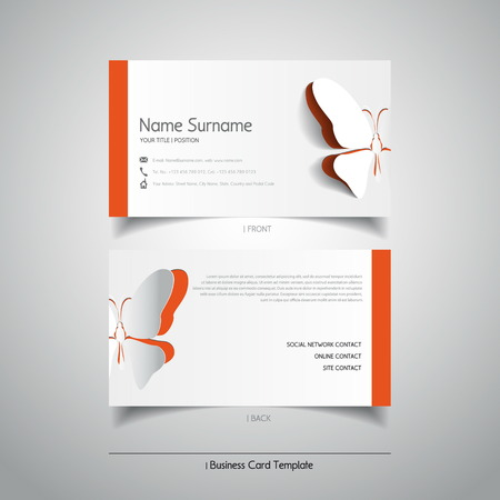 Modern simple light business card template with papercut butterfly