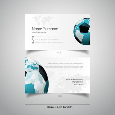 Modern simple light business card template with soccer ball