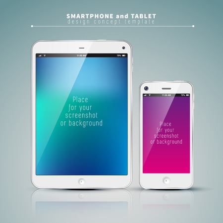 Realistic Tablet PC and phone With color Screen. Vertical, White. On colorful Background. Vector Illustration