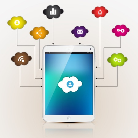 electronic device: Cloud Computing Concept on Electronic Device tablet. Vector Illustration Illustration