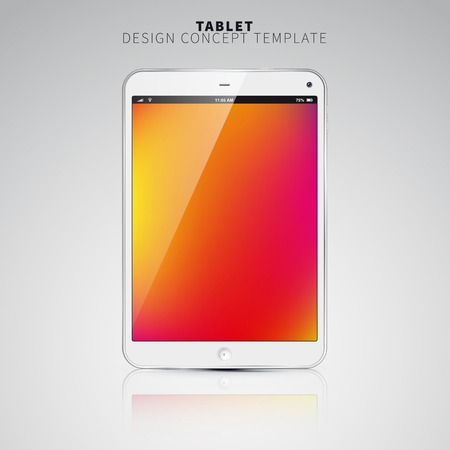 Realistic Tablet PC With color Screen. Vertical, White. On colorful Background. Vector Illustration Vector