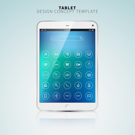 Realistic Tablet PC With color Screen and UI flat icons. Vertical, White. On colorful Background. Vector Illustration Vector