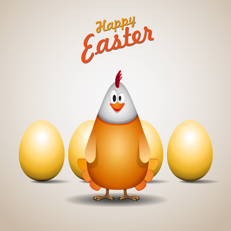 poult: Happy easter chicken mama, Funny chicken egg, vector card