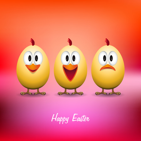 poult: Happy easter - Funny chicken eggs - vector card Illustration