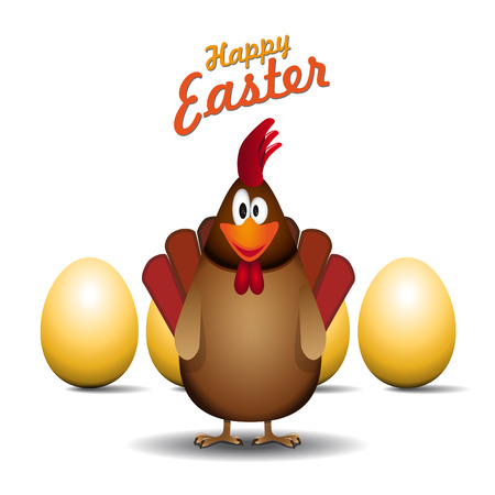 poult: Happy easter rooster father, Funny chicken egg, vector card