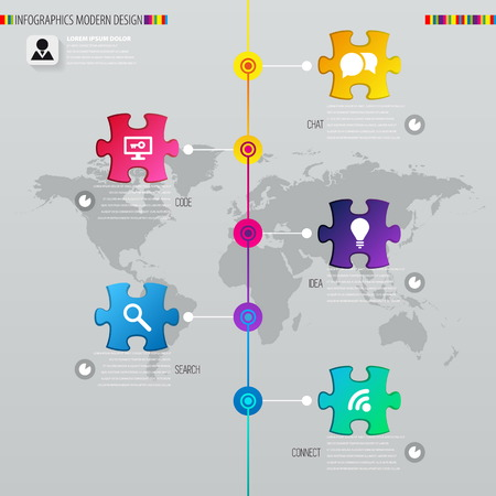 Digital illustration Infographic timeline report template with puzzle. Vector illustration can be used for workflow layout, diagram, number options, web design Vector