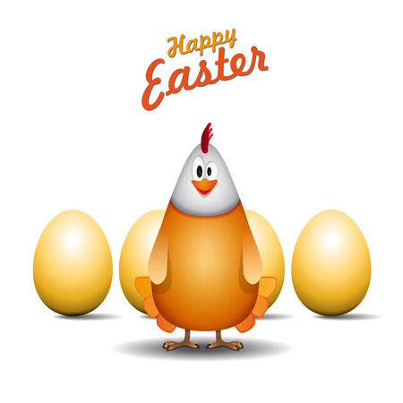 Happy easter chicken mama, Funny chicken egg, vector card Vector