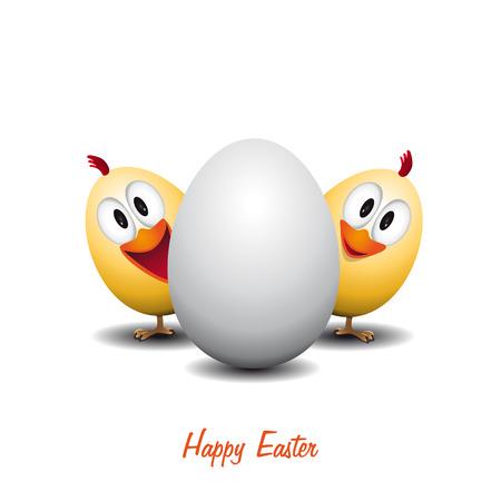 chicken egg: Happy easter - Funny chicken egg - vector card