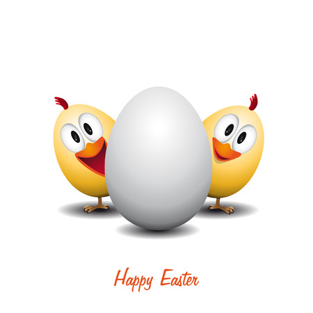 Happy easter - Funny chicken egg - vector card