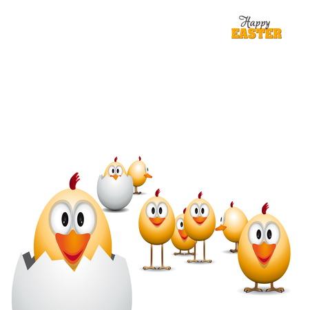 Funny Easter eggs chicks, background illustration, Happy easter card