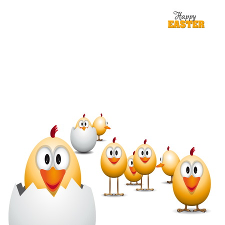 Funny Easter eggs chicks, background illustration, Happy easter card
