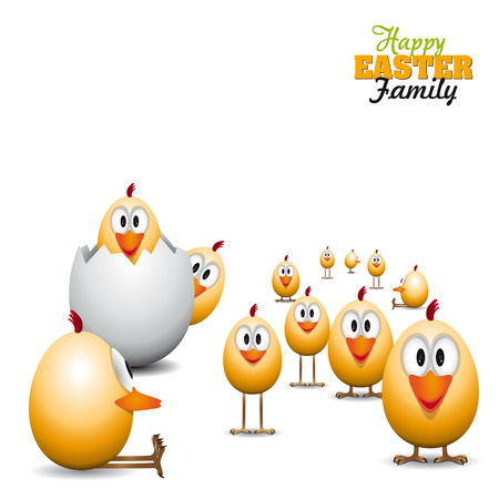 Funny Easter eggs chicks - background illustration - Happy easter card Illustration