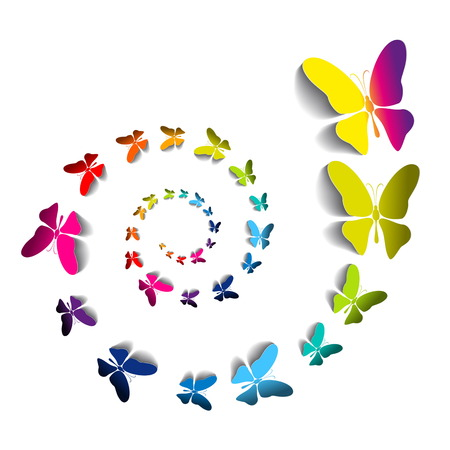 Greeting card with colorful paper butterflies in spiral - vector Illustration
