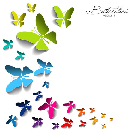 Greeting card with colorful paper butterflies on white background- vector Illustration