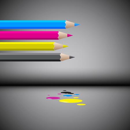 Vector color pencils, CMYK concept Vector