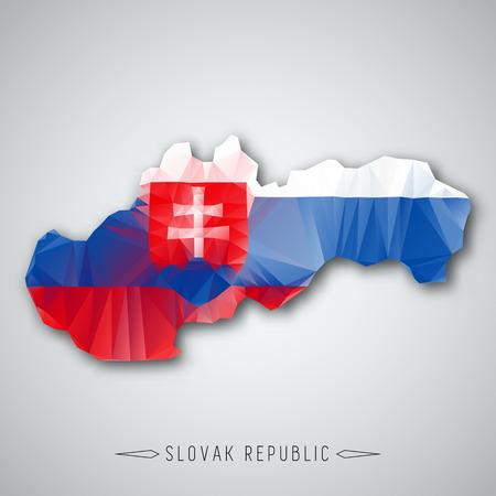 slovak: Slovak republic map in a Triangular Style. Vector Illustration