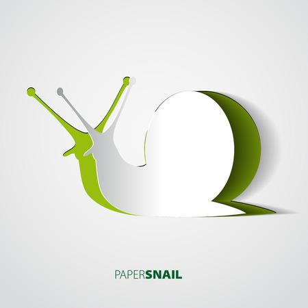 cartoon snail: Snail papercut vector illustration Illustration