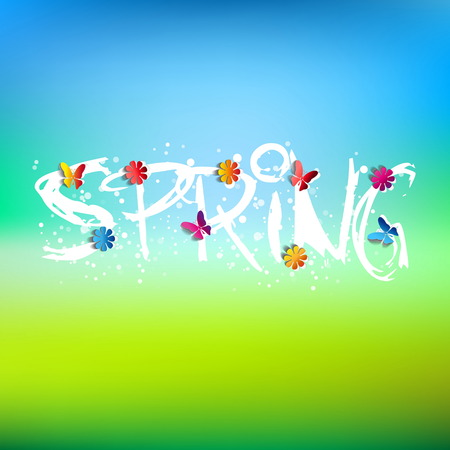 Spring word, flowers and butterfly vector Vector