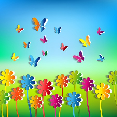 Abstract paper Flowers background - paper butterflies - spring theme card - vector