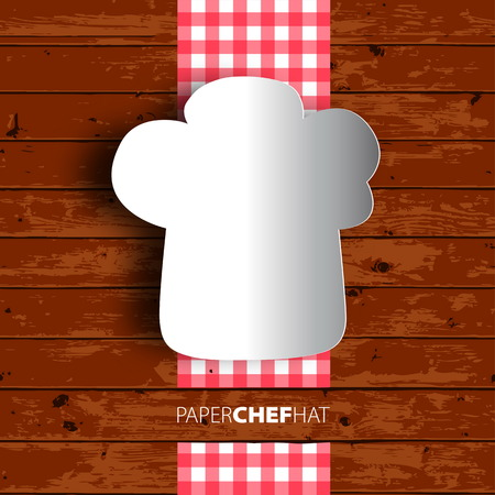 wooden hat: Menu design, Papercut chef hat on wooden background.