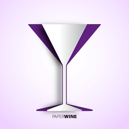 Wine cup from paper - vector illustration