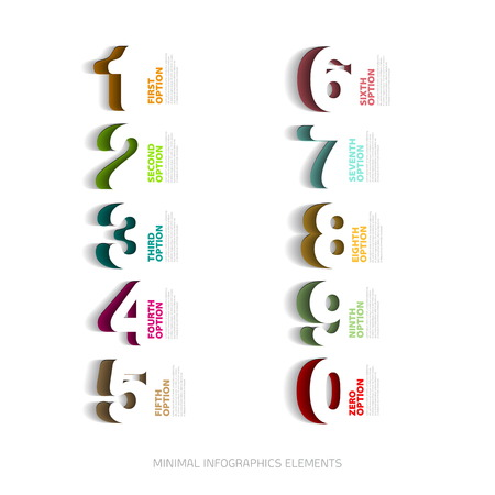 Infographics papercut number options template - Vector illustration
