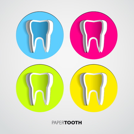 Set of Sticker papercut Tooth On White Background - Vector Illustration