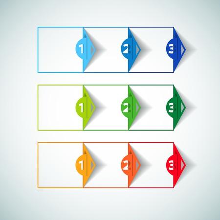 istruzione: Un due tre - Set di tre versioni - carta vettore progredire passi per esercitazione Vettoriali