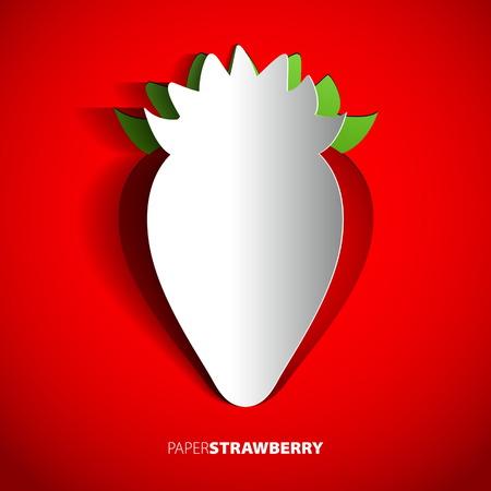 Paper strawberry cutout - vector illustration design card - EPS10 Illustration