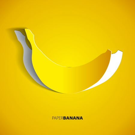Paper banana cutout - vector illustration design card   イラスト・ベクター素材