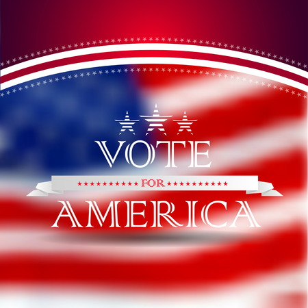 Vote for America, election poster card design, blurred USA flag background
