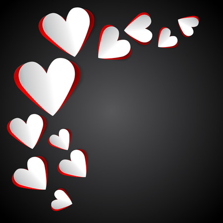 Paper Hearts for love Background - Design Template Illustration