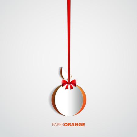 slow food: Arancione ritaglio di carta appeso sulla prua - illustrazione card design