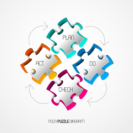 iterative: Four colorful Paper puzzle on white background Illustration