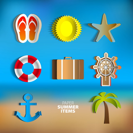 Paper Vector summer poster set made from papercut icons with abstract beach background Vector