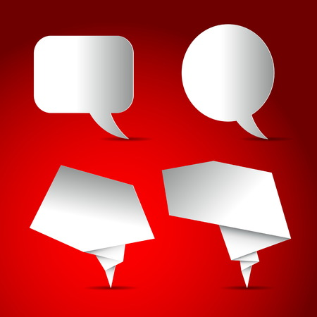 speach: Set of Speech bubbles white blank, paper design on red background Illustration