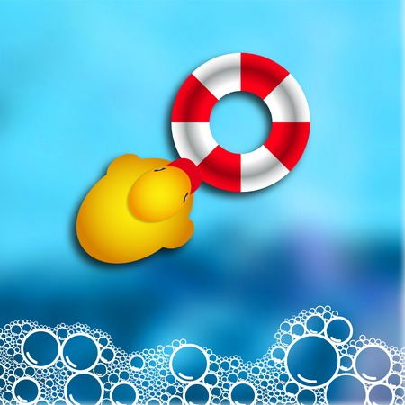 Soap bubble bath on blue background with duck and rescue wheel, vector illustration