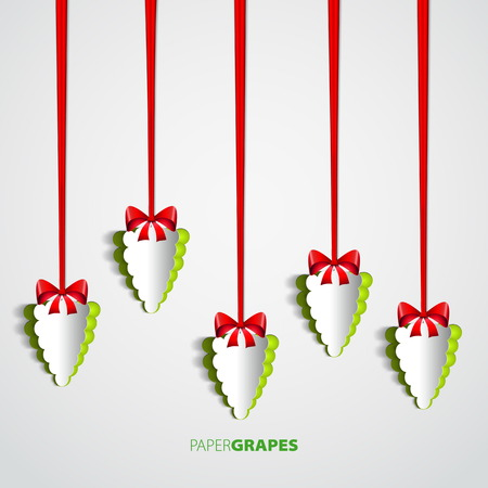 wine growing: Set of Paper grapes cutout hanging on bow