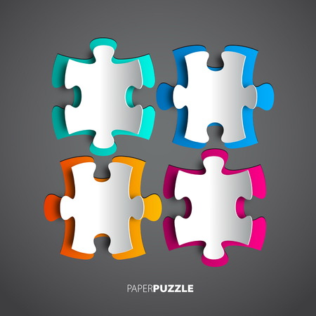 Four colorful Paper puzzle on white background  Vector