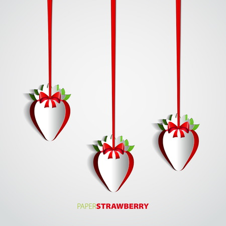 Set of Paper strawberries cutout hanging on bow