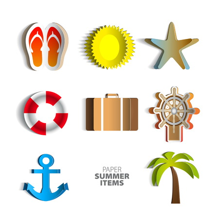 Paper summer poster set made from papercut icons with white background Vector