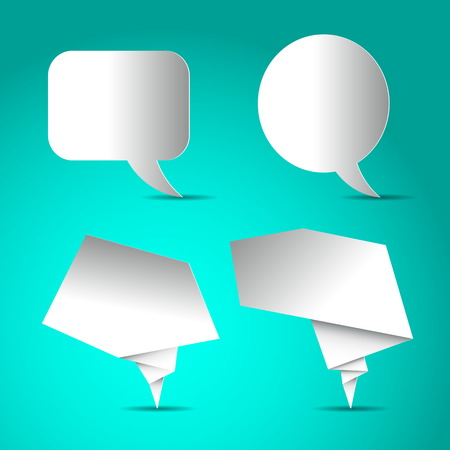 speach: Set of Speech bubbles white blank, paper design on bright blue background