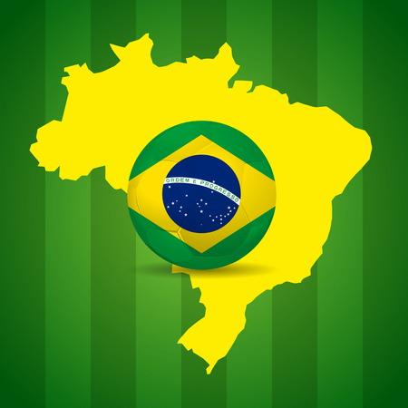 Kaart en Voetbal van Brazilië 2014 poster illustratie Stockfoto - 28388918
