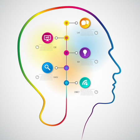 Human head with timeline diagram infographics - symbol Freedom and creativity - design concepts