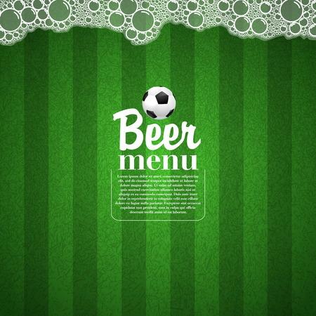 pinta: Soccer Beer Menu, Elegant restaurant theme for football and soccer, Vector Illustration