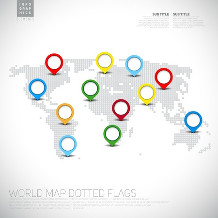 Infographics World map from dots with pointer marks, communication concept