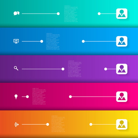 Infographic template with horizontal lines and icons - vector illustration Vector