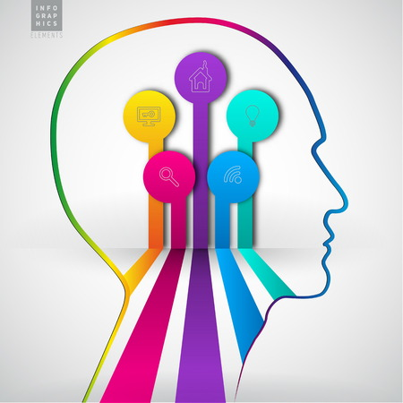 Human head with diagram infographics - symbol Freedom and creativity - design concepts  イラスト・ベクター素材